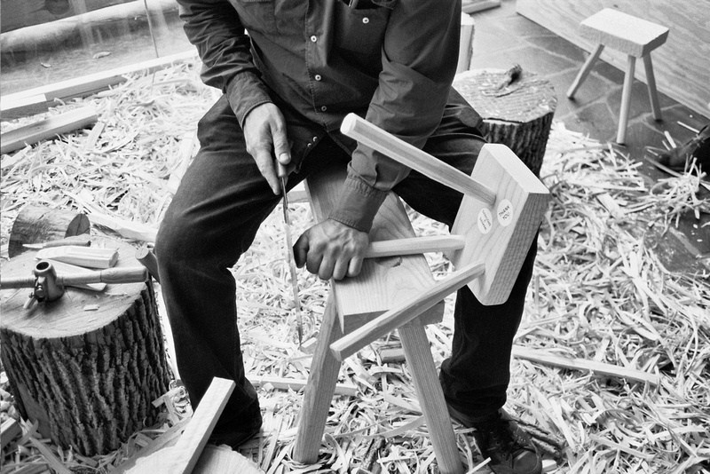 James Carroll working on a 3 legged stool